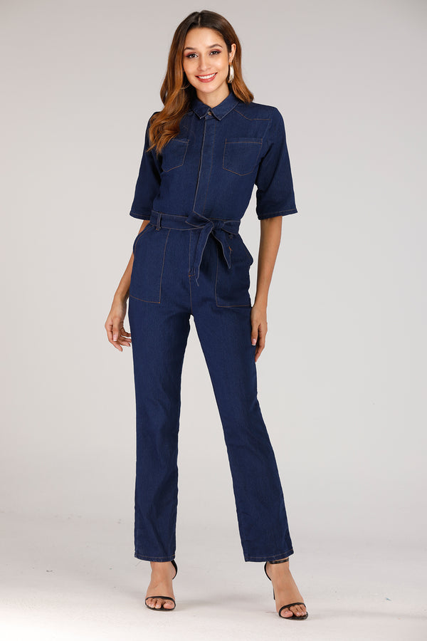 Mantra Pakistan Denim Full Sleeve Jumpsuit | DRESS