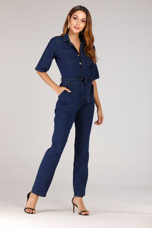 Denim Full Sleeve Jumpsuit - Mantra Pakistan