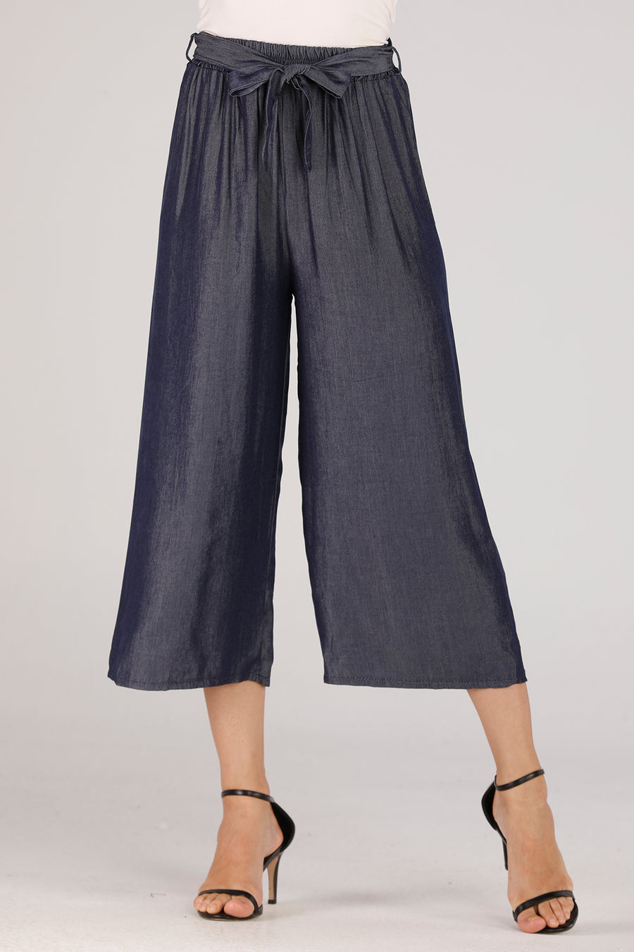 Mantra Pakistan Denim Flowy Pants | BOTTOMS