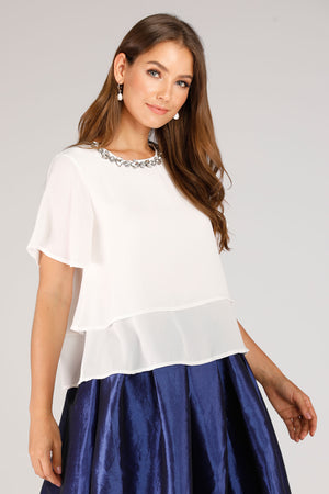 Mantra Pakistan White Top With Necklace Design | TOPS