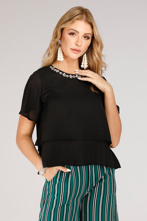 Black Top With White Necklace Design - Mantra Pakistan