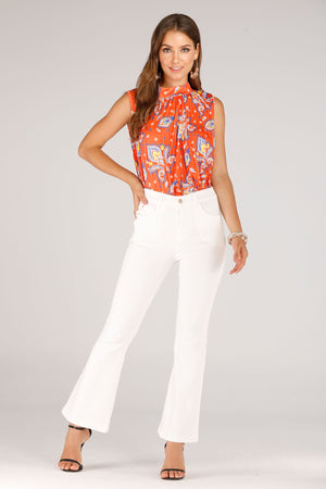 Mantra Pakistan White Flare Jeggings | BOTTOMS