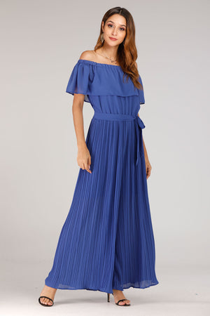 Blue Pleated Jumpsuit - Mantra Pakistan