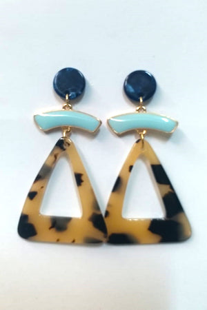 Blue And Tortoise Shell Earring - Mantra Pakistan