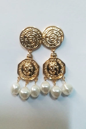 Mantra Pakistan Coin Earring With Pearls | ACCESSORIES