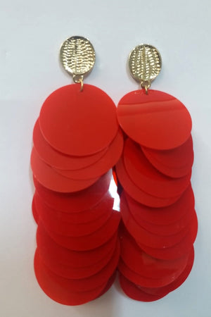 Mantra Pakistan Red Sequin Earrings | ACCESSORIES