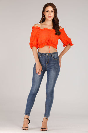 Mantra Pakistan Orange Lace Crop Top | TOPS