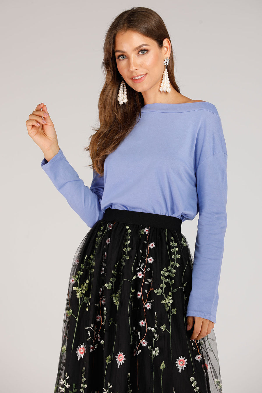 Mantra Pakistan Off Shoulder Blue Tee | TOPS