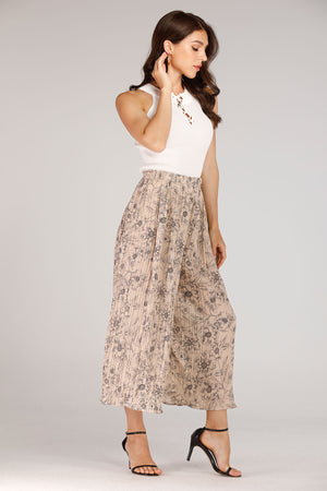Beige Pleated Pants With Floral Print - Mantra Pakistan