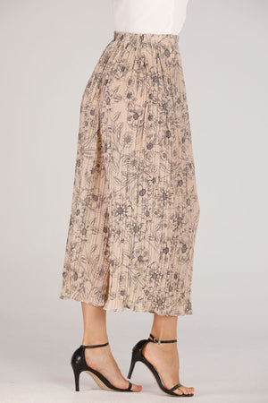 Mantra Pakistan Beige Pleated Pants With Floral Print | BOTTOMS