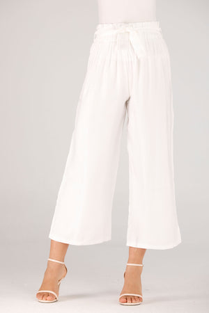 Mantra Pakistan White Pants With Belt | BOTTOMS
