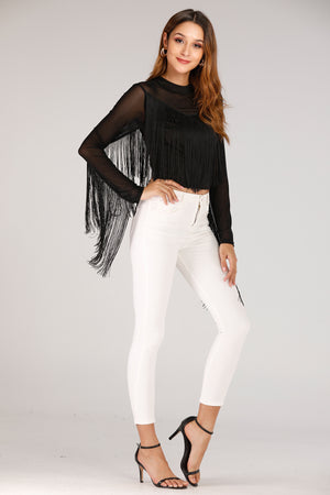 Mantra Pakistan Black Fringe Top | TOPS