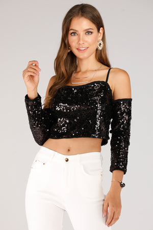 Mantra Pakistan Black Sequence Cold Shoulder Top | TOPS