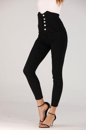 High Waist Jeans With Buttons