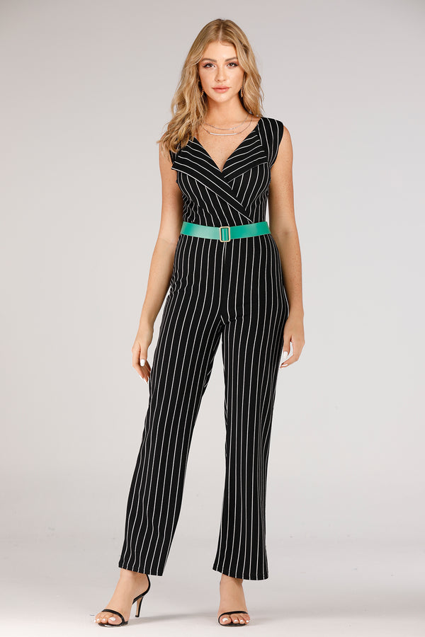 Black & White Stripe Jumpsuit - Mantra Pakistan