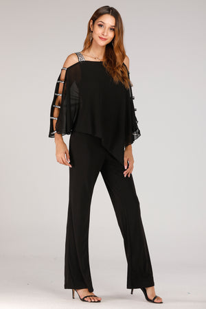 Batwing With Glitter Straps jumpsuit - Mantra Pakistan