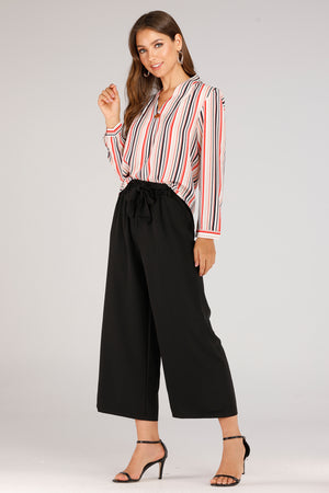 Flowy Pants With Self Fabric Belt - Mantra Pakistan