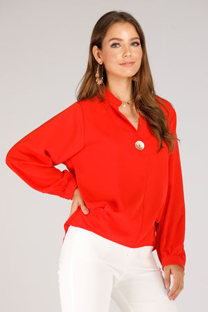 Blouse With Gold Button - Mantra Pakistan