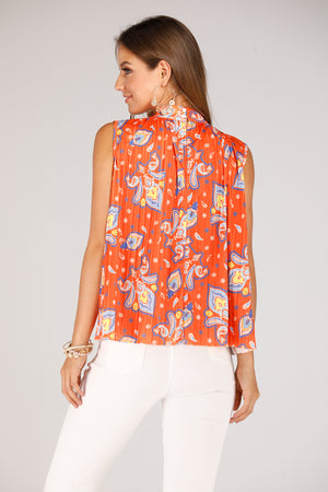 Mantra Pakistan Orange Printed Sleevesless Top | TOPS