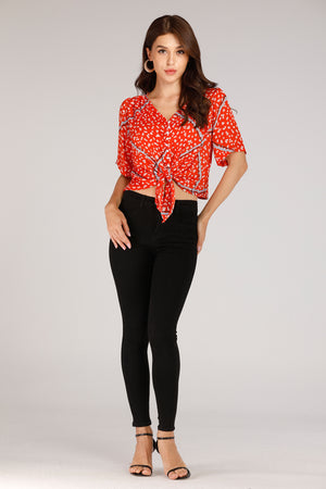 Mantra Pakistan Spot Printed Front Tie Top | TOPS