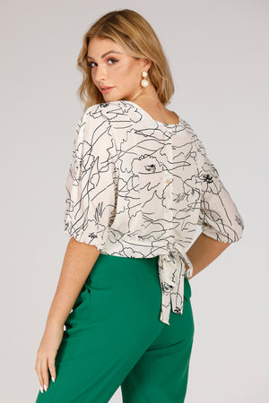 Mantra Pakistan White Top With Outline print | TOPS