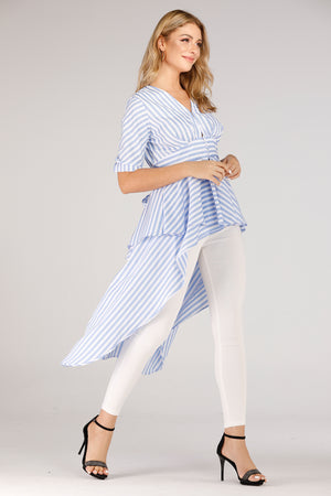 Mantra Pakistan Stripe Shirt With Long Back and Short Front | TOPS