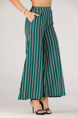 Mantra Pakistan Green Stripes Printed Palazzo | BOTTOMS