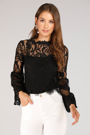 Mantra Pakistan Lace Mesh Top | TOPS