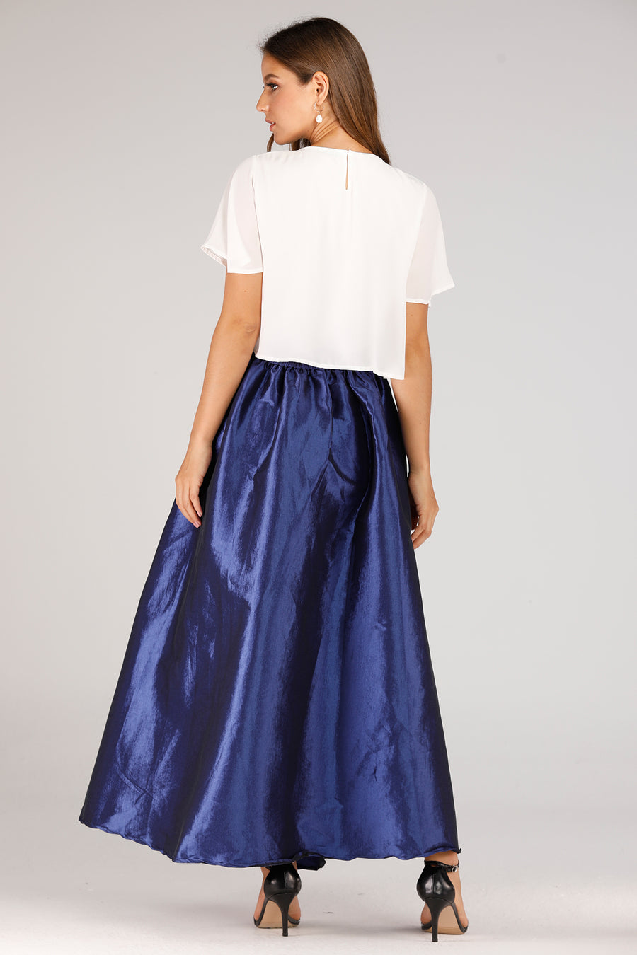 Mantra Pakistan Blue Long Tulle Skirt | BOTTOMS
