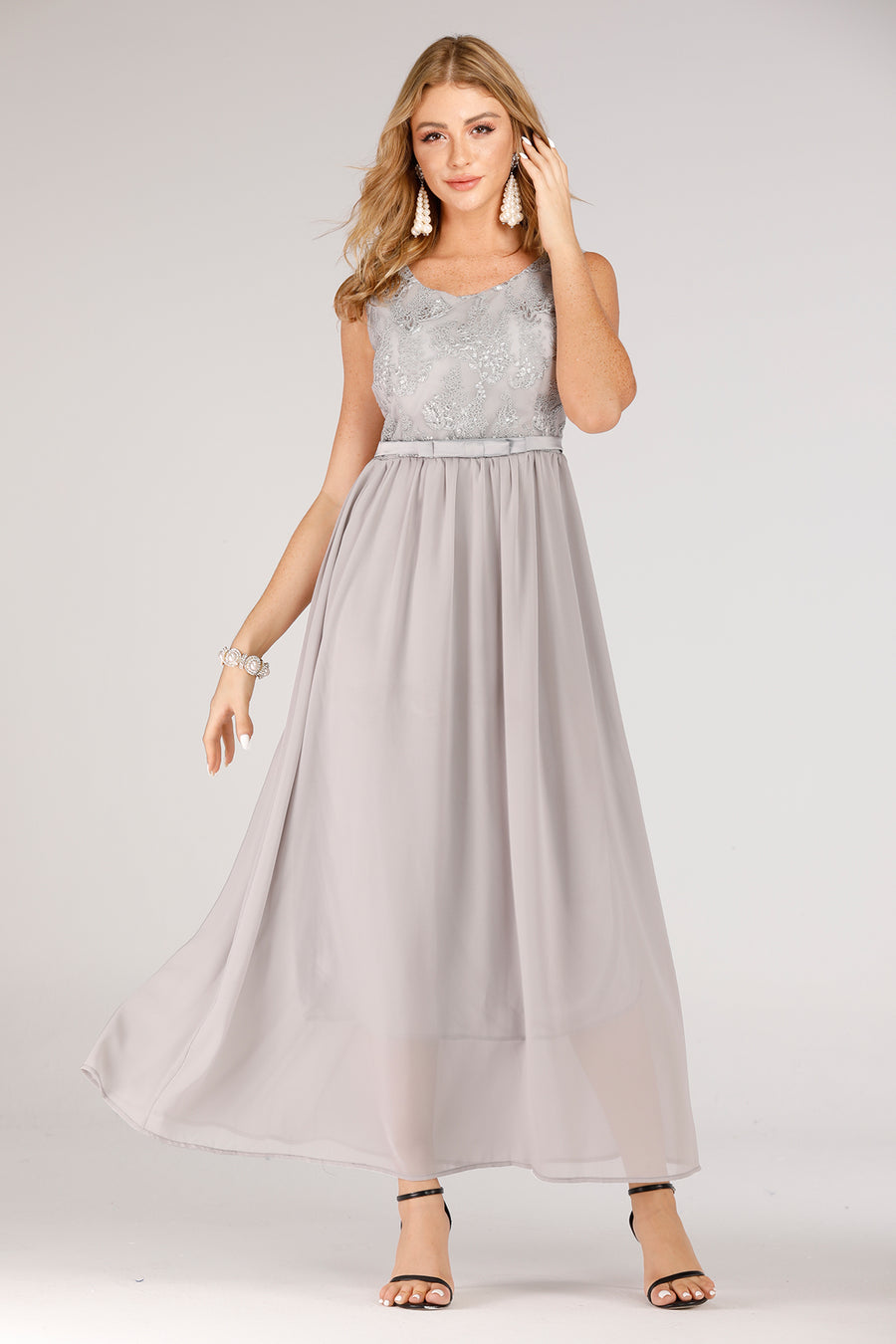 Grey Evening Dress With Lace Top