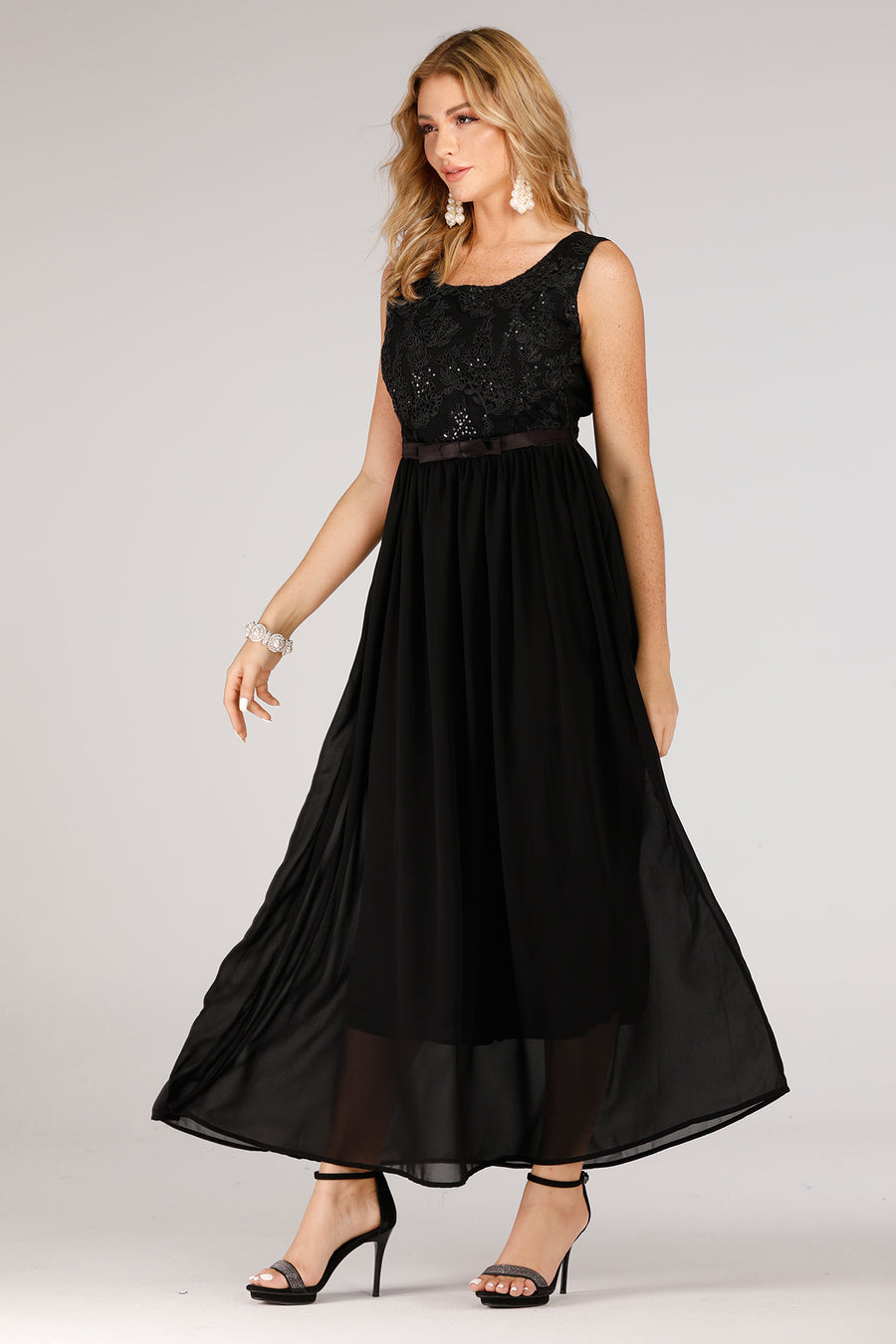 Black Evening Dress With Lace Top - Mantra Pakistan