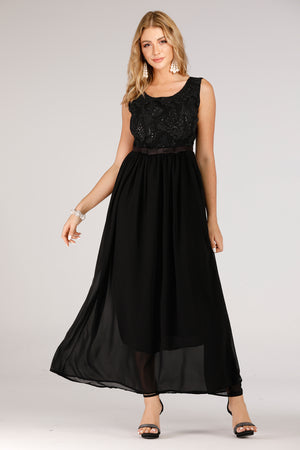 Black Evening Dress With Lace Top