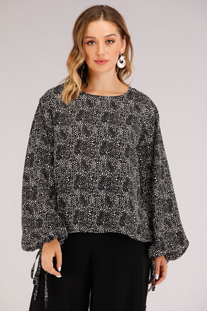 Mantra Pakistan Spotted Top With Puffy Sleeves | TOPS
