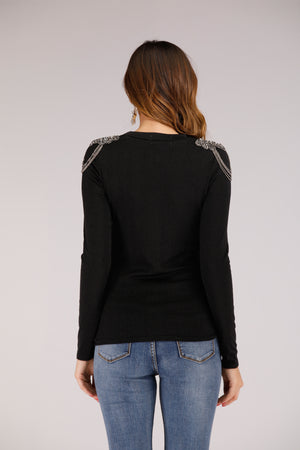 Mantra Pakistan Full Sleeve High Neck with Beaded Shoulder in Black | TOPS