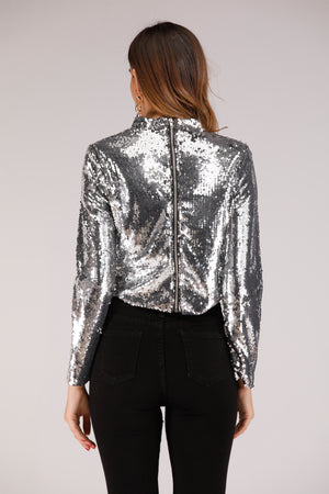 Mantra Pakistan Silver Sequin Top Full Sleeve | TOPS