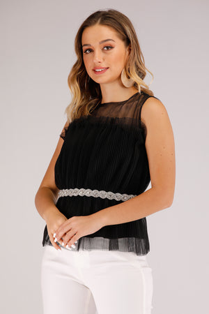 Mantra Pakistan Net Sleeveless Top With Silver Bead Belt | TOPS