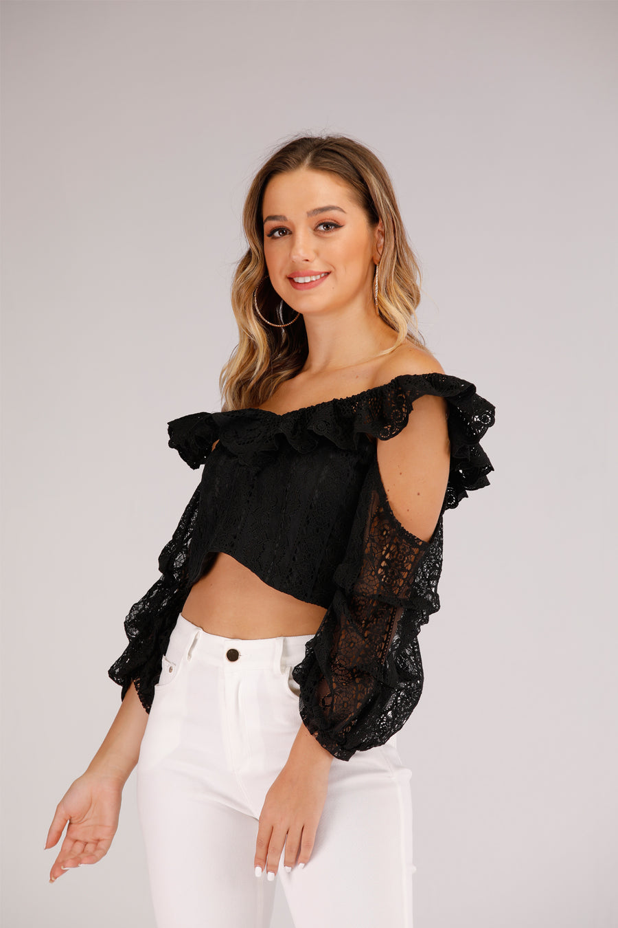 Mantra Pakistan Off Shoulder Lace Top | TOPS
