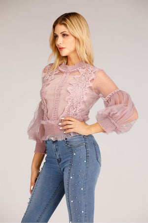 Mantra Pakistan Beige Mesh Top with Floral Lace | TOPS