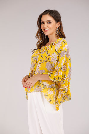 Mantra Pakistan Yellow Floral Print Top with Flare Sleeve | TOPS