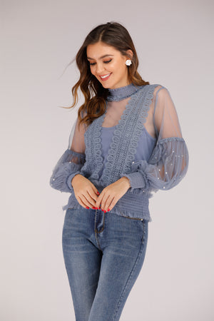 Mantra Pakistan Blue Mesh Full Sleeve Top with Pearls | TOPS