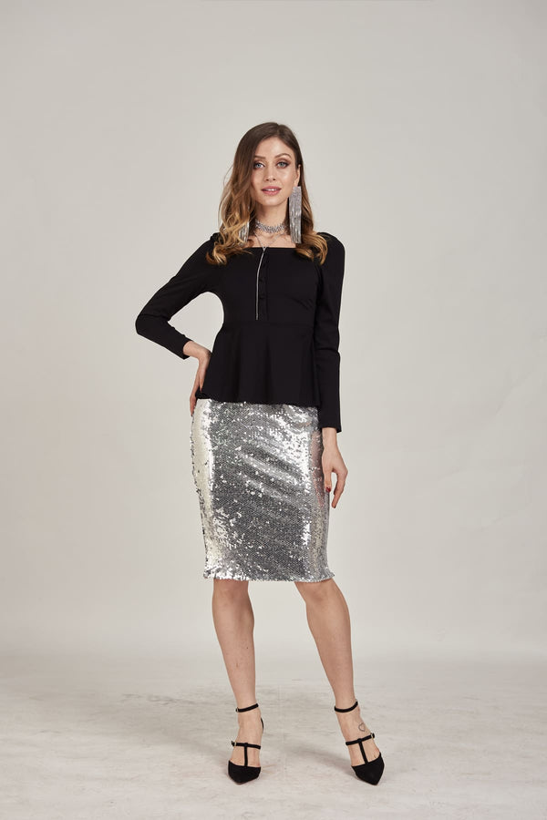 Silver Sequins Short Skirt