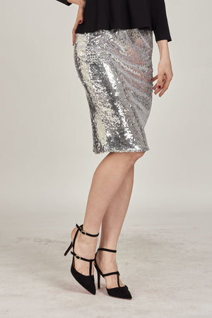 Mantra Pakistan Silver Sequins Short Skirt | BOTTOMS
