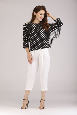 Mantra Pakistan Polka Dots Fringe Top | Western Wear