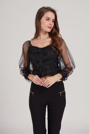 Mantra Pakistan Mesh Polka Dot Sleeves Top | Western Wear