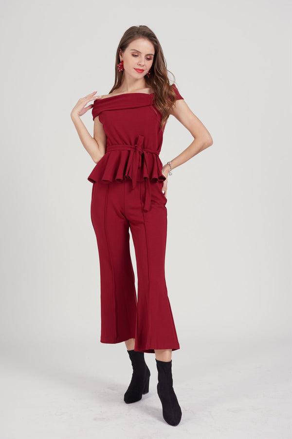 Mantra Pakistan Red Peplum Suit | Western Wear