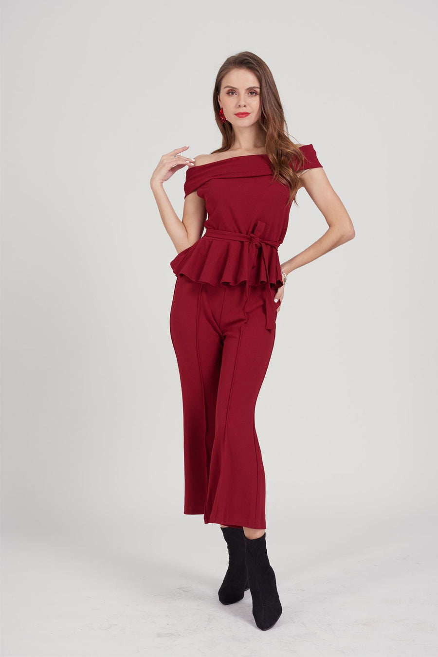 Mantra Pakistan Red Peplum Suit | DRESS