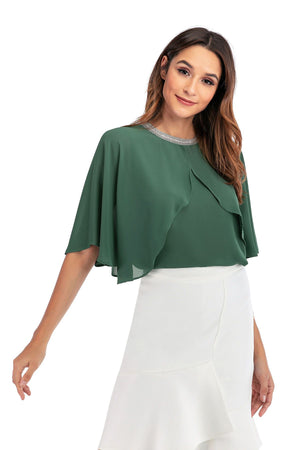 Mantra Pakistan Green Cape Top | Western Wear