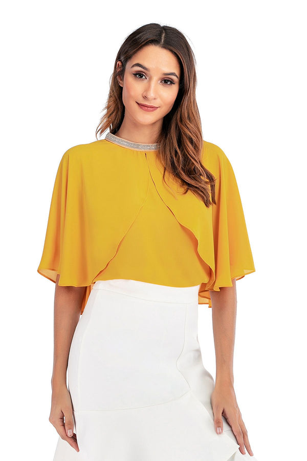 Mantra Pakistan Yellow Cape Top | TOPS