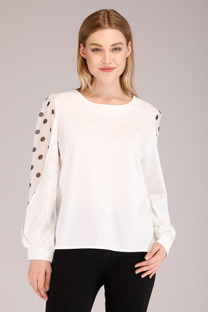 Mantra Pakistan DOTTED CHIFFON SLEEVES TOP | TOPS