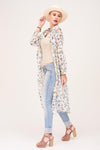 FLORAL PRINTED CHIFFON LONG SHRUG
